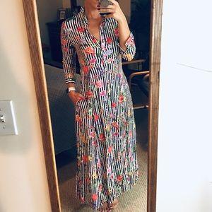 ZARA STRIPED FLORAL DRESS